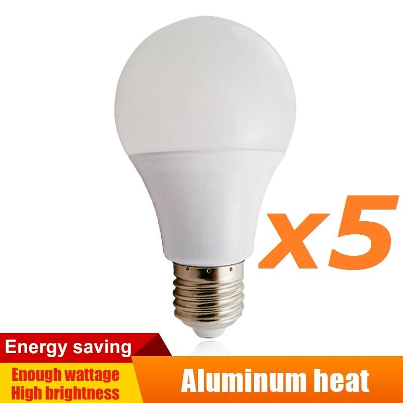 Светодиодные лампы 5 шт./лот 220 В/110 в E27, освещение для дома, светодиодные круглые лампы холодного/теплого белого света, алюминиевые лампы 3 Вт/...
