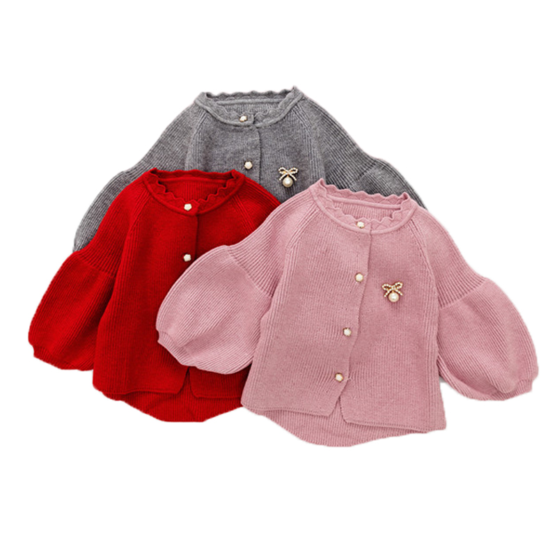2017 Baby Girls Sweaters Long Sleeve O-neck Knitted Cardigan For Girls Children Clothing Fall Winter Outerwear Toddler Knitwear
