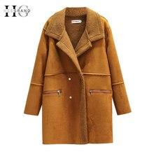 HEE GRAND/зимнее пальто для женщин; пальто из искусственной замши; кожаные куртки; большие размеры 4XL; свободная верхняя одежда из искусственной овечьей шерсти; пальто WWC164