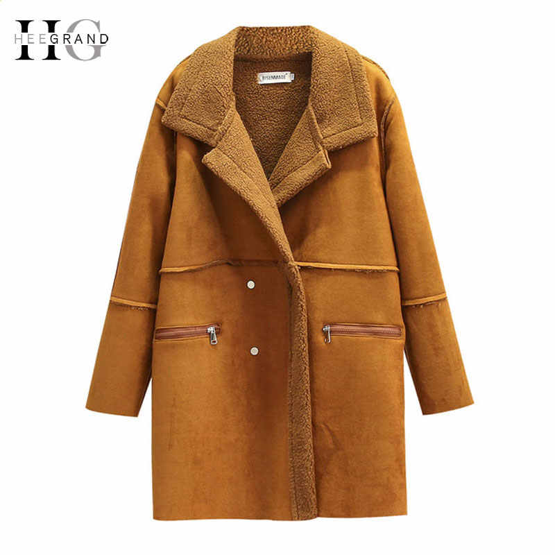 HEE GRAND Winter Coat Women Shearling Coats Faux Suede Leather Jackets Plus Size 4XL Loose Outwear Faux Lamb Wool Coat WWC164