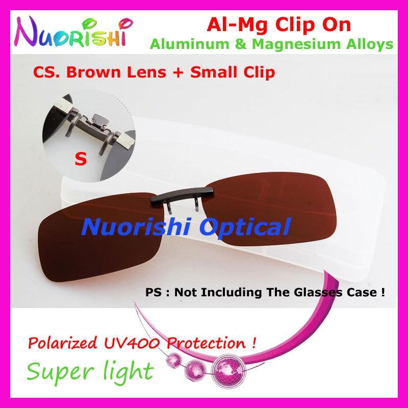 10 шт. сплава al-mg поляризованные Очки очков 7 цветов UV400 линзы клип на для малого и среднего Размеры зажимы cp07 - Цвет линз: CS Brown