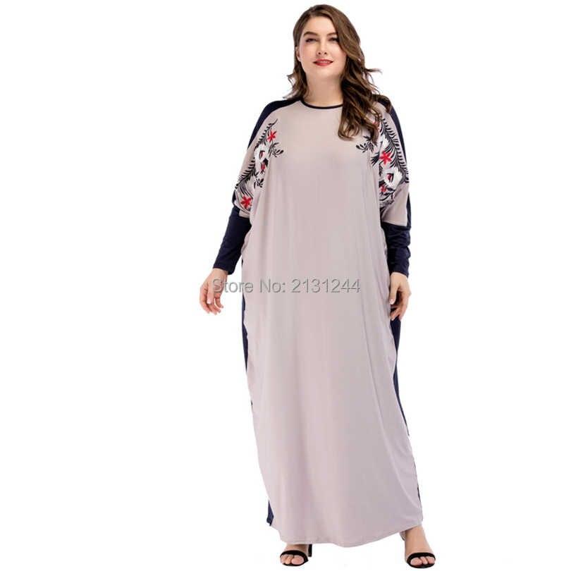 ... Ramadan Muslim Maxi Abaya Embroidery Long Wide Sleeves Malaysia Gowns  Long Dress Middle East Arab Islamic ... 84c541ae4