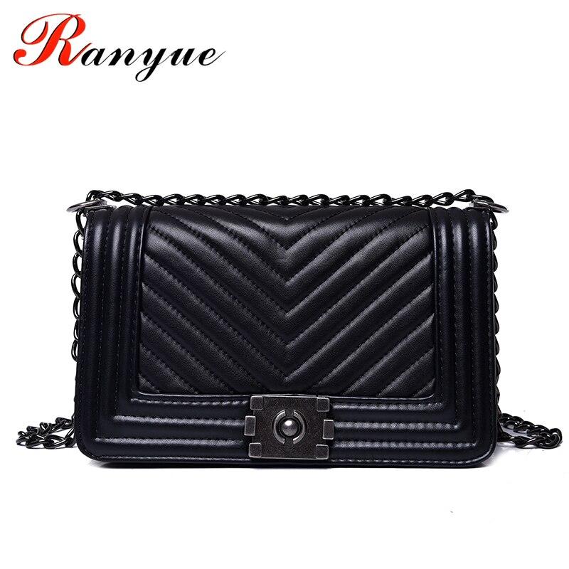 RANYUE luxus kézitáskák Női táskák Designer Női Messenger Táskák 2019 Nyári Vintage Divat V Kis lánc Crossbody Bag Hot eladó