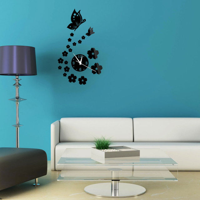 New Modern 3D Butterfly Flower Sticker Living Decor Mirror Wall Clock Decal  DIY Room Interior Decoration