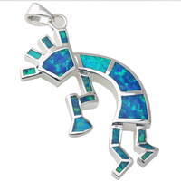 Classic Angel 20*33mm Blue Fire Opal Silver Handmade Animal Pendant P9083