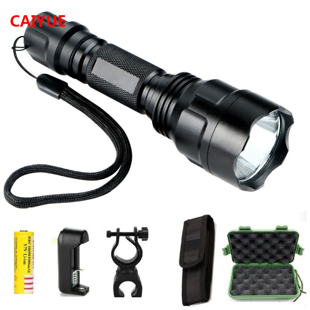 Potente LED caza linterna táctica antorcha cree Q5 5 modo antorcha linterna luz impermeable gladiador linterna para 1x18650