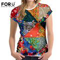 FORUDESIGNS Vintage Patchwork Women T Shirts for Ladies Slim Short Tee Tops Lattice Pattern Female Fashion Brand Clothing S,M,XL