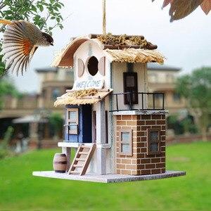 Садовое деревянное гнездо 23*17*17 см, подвесная клетка для птичьего гнезда, симпатичное открытое Птичье гнездо ручной работы, птичье гнездо дл...
