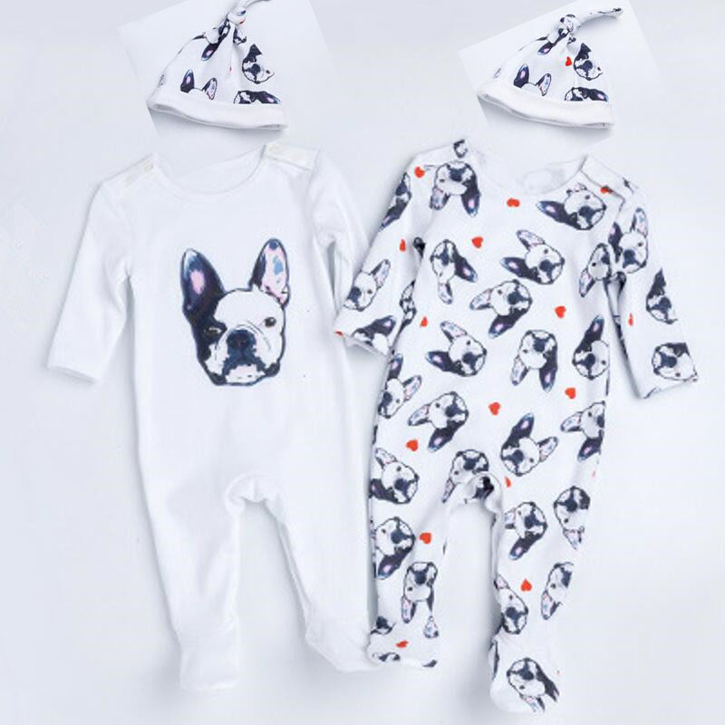 Baby Rompers Tiny Cottons Newborn Boys Romper Girls Clothes Dog Print Infant Baby Clothing 2017 Long Sleeved Jumpsuit With Hat unisex baby boys girls clothes long sleeve polka dot print winter baby rompers newborn baby clothing jumpsuits rompers 0 24m