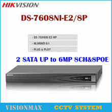 Hikvision NVR DS-7608NI-E2/8P 8CH Support POE for HD IP Camera 5 Megapixels 8 POE Port 2 SATA CCTV Netword Video Recorder