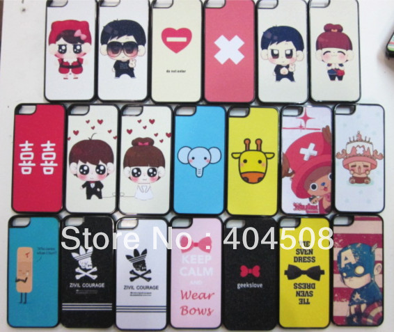 new colorful Cartoon Shimmering powder cell phone Case For iphone 4 4s 5 5s mobile bling hard back cover shell 72 styles! 10pcs