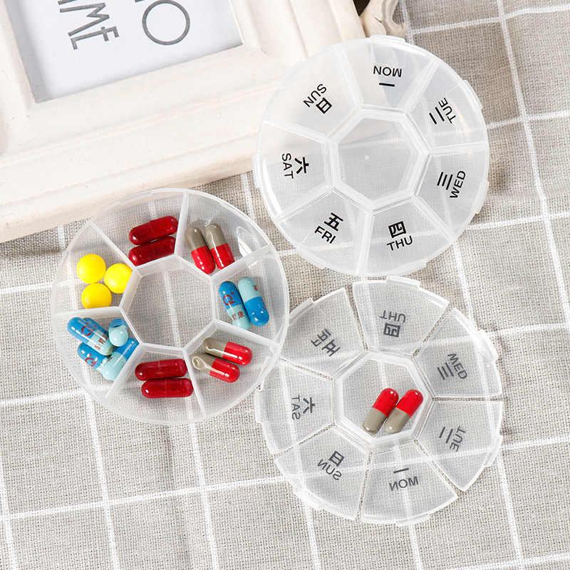 ポータブル円形ピルボックス一週間 7 グリッド医学ケース丸薬ケース白透明トラベルホーム丸薬薬容器