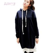 APOENGE Winter Dress For Women 2017 New Hoodies Dresses Plus Size Pullovers Loose Autumn Causal Vestidos Mid Long Dresses LZ554