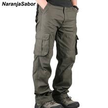 NaranjaSabor новые мужские военные брюки повседневные тактические брюки с несколькими карманами мужские прямые Слаксы длинные брюки размера плюс N349