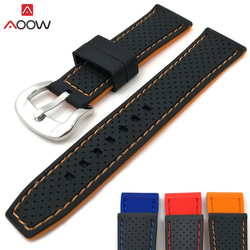 AOOW Rubber Watch Strap Bands 20mm 22mm 24mm Waterproof Watchband Belt 2019 New Generic Watchband Silicone Sports Watchband