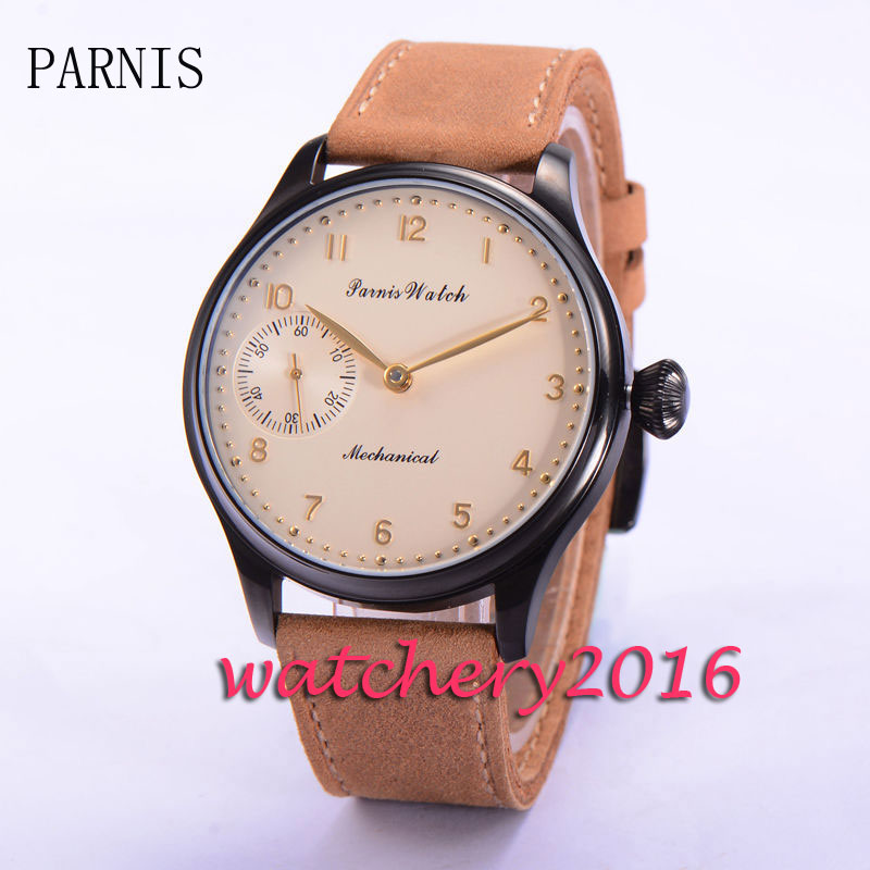 New Parnis 44mm yellow dial black PVD case 6497 hand winding movement Men's Watch