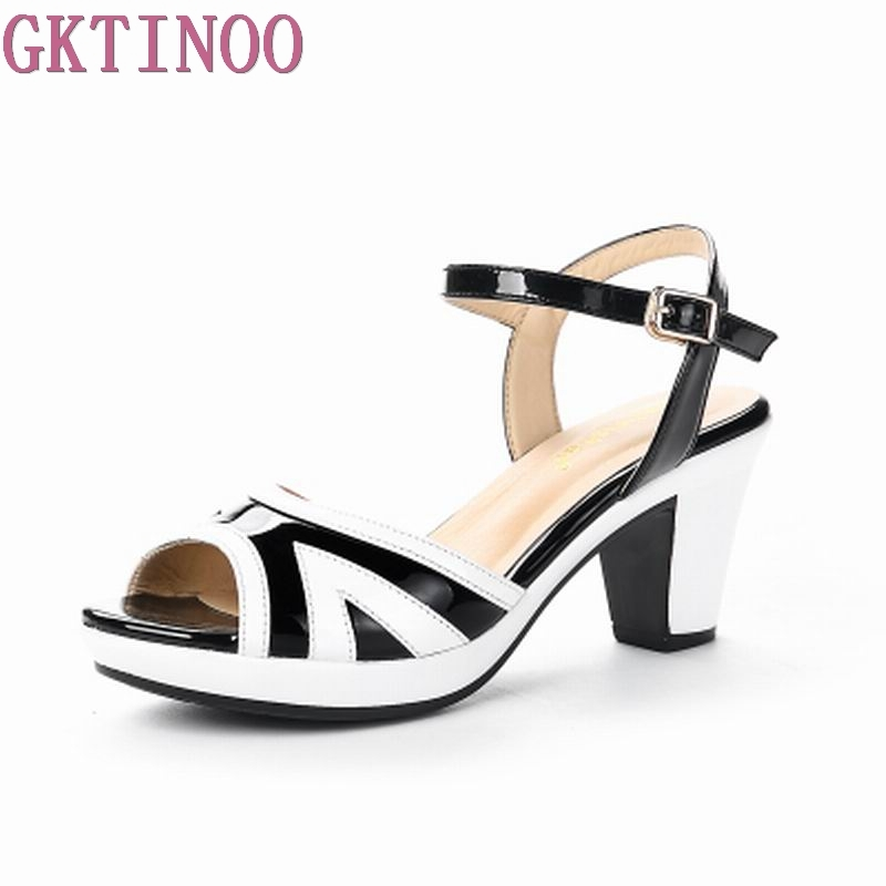 GKTINOO Summer Women Sandals Open Toe Flip Flops Women's Sanda'ls Thick Heel Women Shoes Korean Style Gladiator Shoes new summer women sandals open toe women s sandles thick heel women shoes korean style gladiator shoes