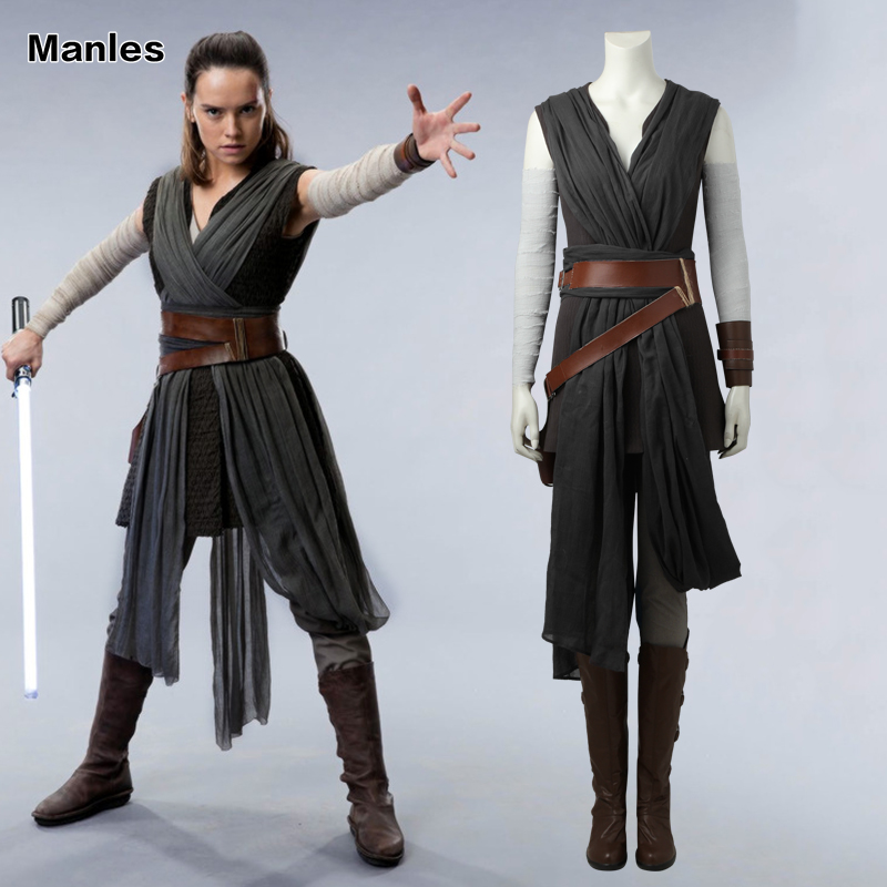 Rey Cosplay Costume Star Wars The Last Jedi Grey Adult Costumes For Women Clothes Movie Superhero