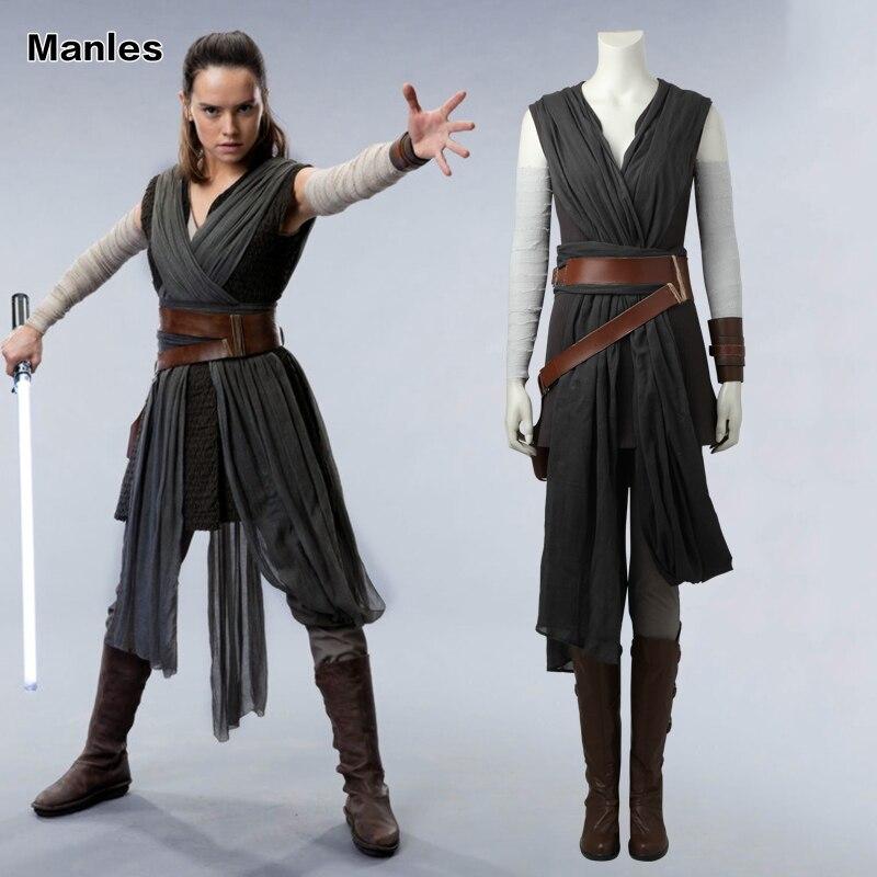 Rey Cosplay Costume Star Wars le dernier Jedi gris adulte Costumes pour femmes vêtements film super-héros ensemble complet Halloween bottes