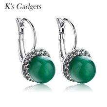 K s Gadgets Jewelry Green CZ Earrings Silver Color Opal Stone Rhinestone Earrings for Women Austrian