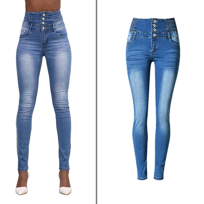 Huan Western world Store New Fashion Hot Sale Women Denim Leggings Washed Bleached High Waist Long Trousers Pleated Sexy Ladies Denim Pencil Pants Jeans