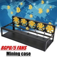 8 GPU Mining Rig Stackable Case 5 Fans Open Air Frame ETH ZEC Bitcoin NEW With