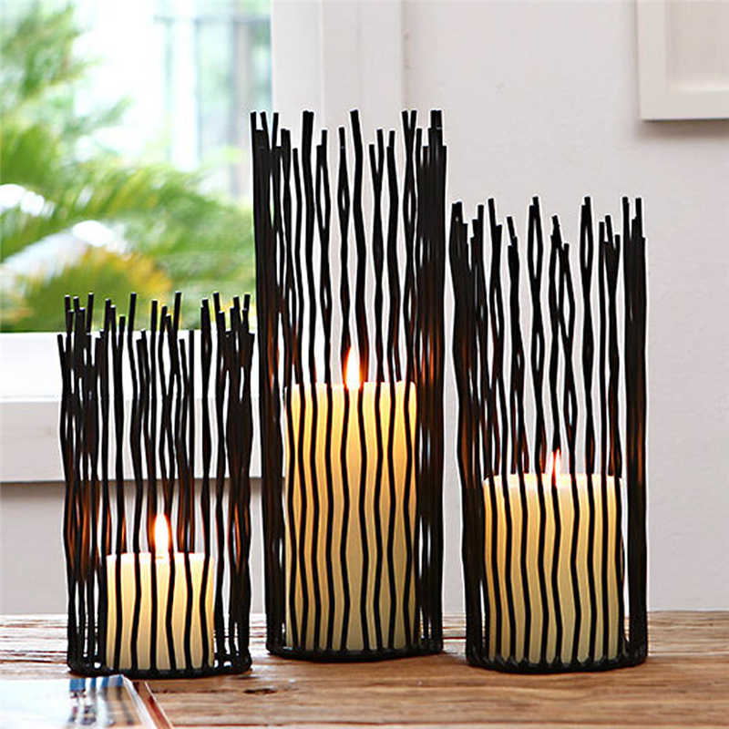 Metal Desk Stand Candle Holders Wedding Candlestick Morocco Tealight Holder Home Decoration Black Bohemian Style
