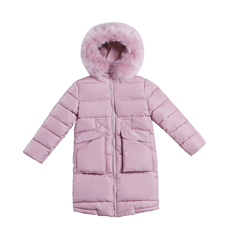 Children's Wear Winter Girls Korean Version Down Jacket Girls Coat Long Large Children Big Hair Collar Warm Down Clothes olgitum women s winter warm in the long section of slim was thin winter clothes tops down jacket big hair collar cc056