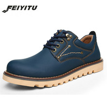feiyitu   2018 new Spring Men Ankle Boots Genuine Leather Men boots Casual Lace Up Non Slip Work Men shoes Tooling Boots Autumn цена в Москве и Питере