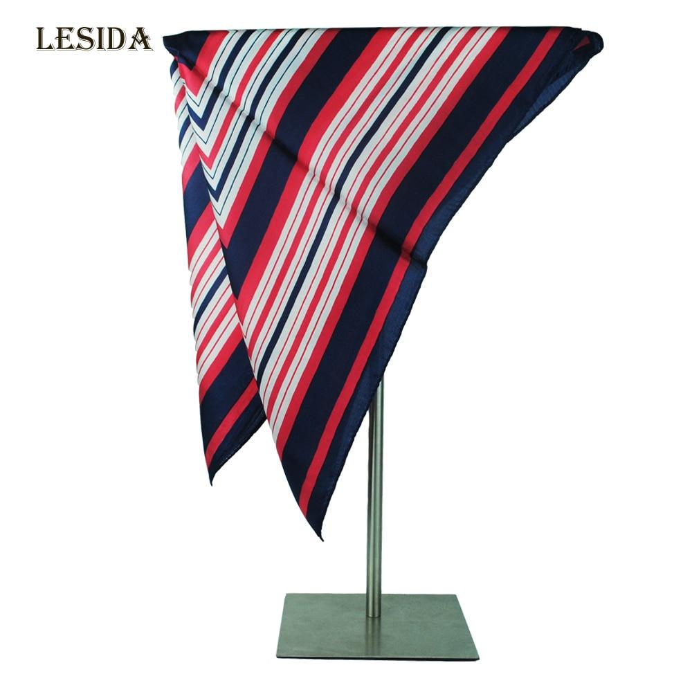 [LESIDA] New Red Stripe Plaid Pure Silk Small Neck Women Retro Scarves Square Foulard Female Satin Check Scarf Bandana ZS9049
