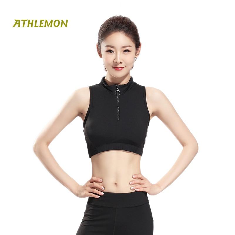 Crop Top Women Yoga Sport Zipper Bra Wide Back Shockproof -6018