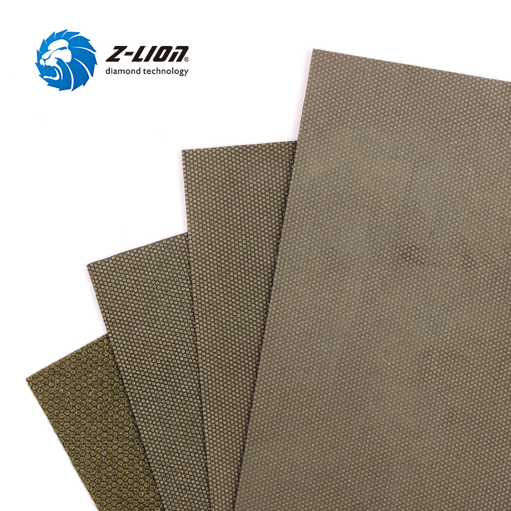 Z-LION 4PCS/Lot 120*180mm Diamond Sanding Paper Wet Dry Polishing Sheets Glass Ceramics Concrete Marble Hand Grinding Sandpaper