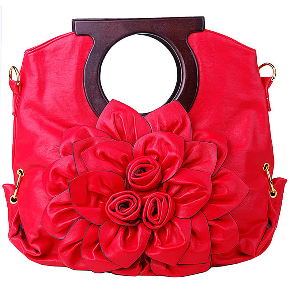 2018 High quality PU Leather Bag for Women Luxury Brand Designery female handbags Fashionable flower wedding bags woman Tote SAC fashionable women s tote bag with cover and pu leather design