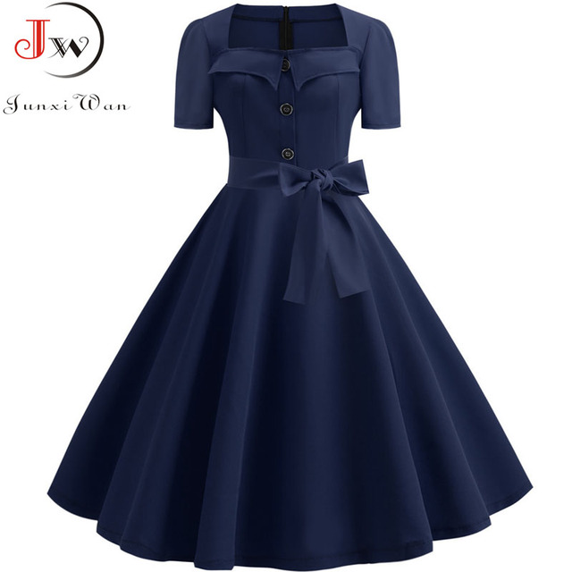Women Summer Dress Elegant Retro Vintage 50s 60s Robe Rockabilly Swing Pinup Dresses Casual Plus Size Red Party Vestidos 4