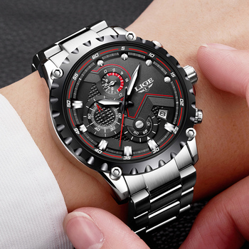 LIGE Men's Full Steel Chronograph Calendar Waterproof Quartz Watches 2