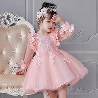 Милое Новогоднее праздничное платье для маленьких девочек одежда принцессы с цветочным рисунком для дня рождения и свадьбы Детские платья ...