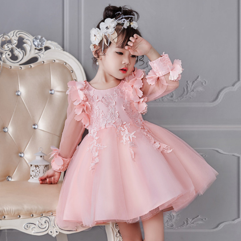 2020 Summer Baby Girl Party Dress Birthday Wedding <font><b>Princess</b></font> <font><b>Toddler</b></font> Floral Clothes Children Kids Dresses For Girls Long Sleeve image
