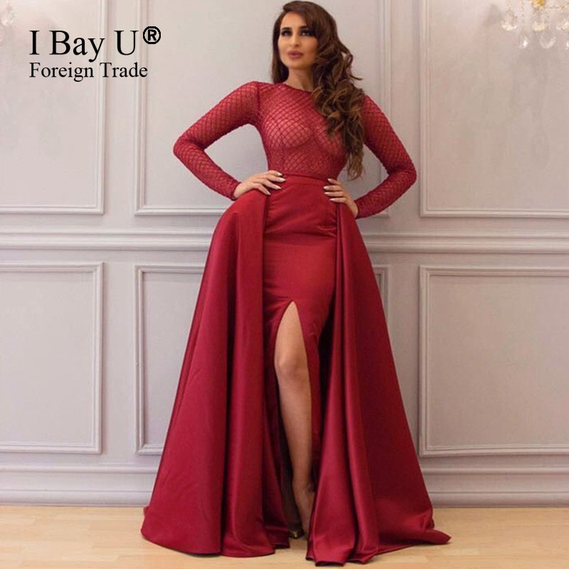 Shiny Sequins Fabric Long Sleeves Prom Dress Red Cutout