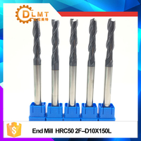 1pcs HRC50 End Mill10mm12mm150L 2Flute Solid Carbide Extra Long Spiral Straight Shank Flat EndMills For CNC