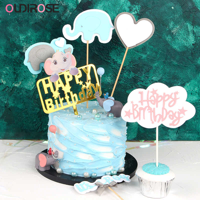 1Set First Birthday Girl Boy Party Decorations Cake Topper Happy Child