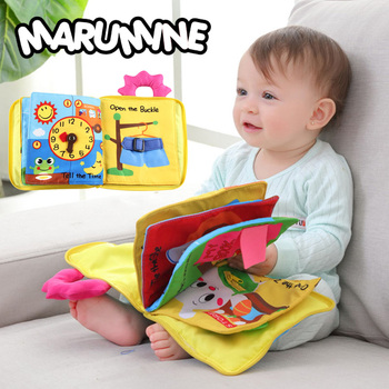 Marumine 3d baby cloth book 동물 0-12 개월 동안 부드러운 천으로 조용한 책 개발 kid intelligence toys reading book