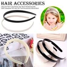 High quality Black/White Plain Lady Plastic Headband WITH Teeth DIY Resin Hairband Hair Hoop Accessories Head wear