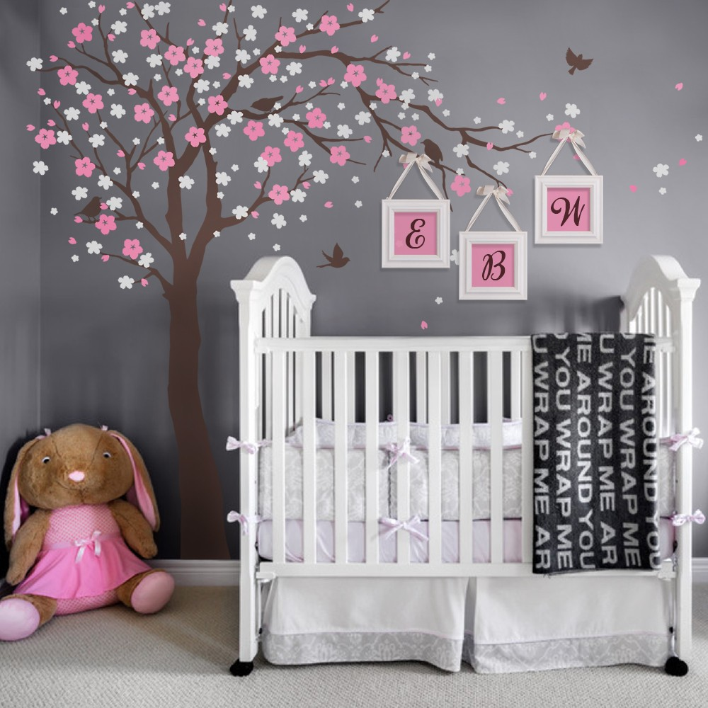 Cherry blossom tree wall decals baby room nursery large tree with cherry blossom tree wall decals baby room nursery large tree with flowers wall stickers for kids room vinyl wall tattoo a401 in wall stickers from home amipublicfo Image collections