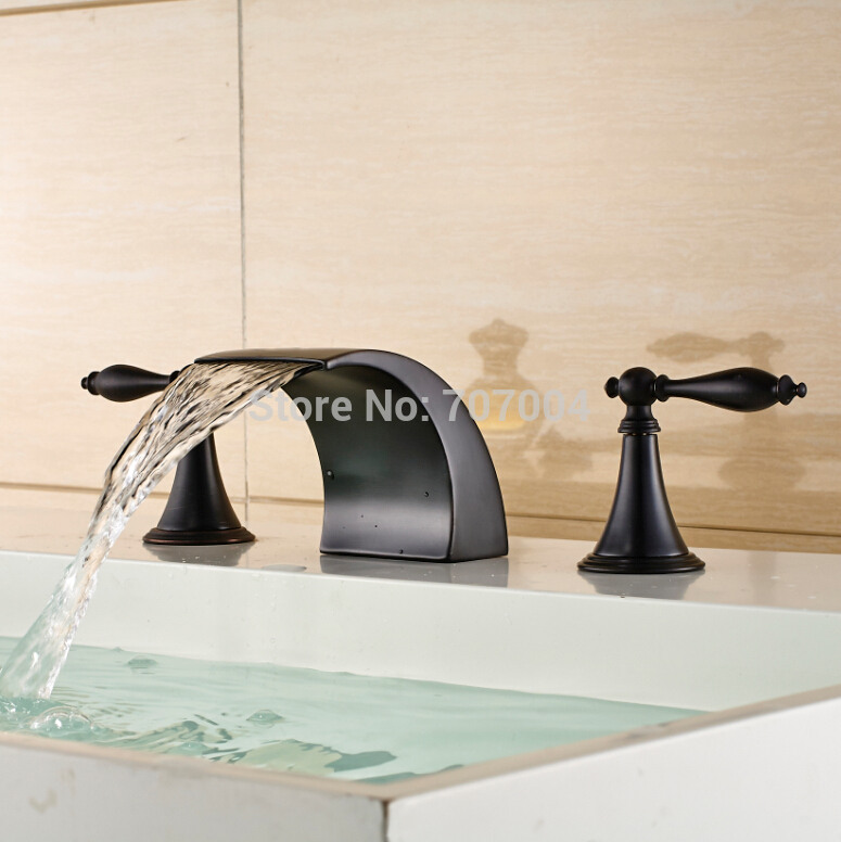 Good Quality Dual Handles Waterfall Bathroom Faucets Oil Rubbed Bronze Basin Vessel Sink Faucets