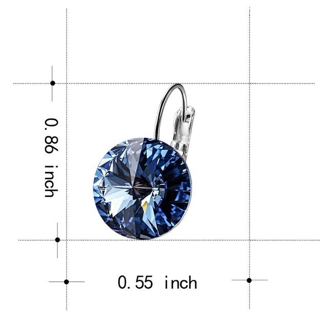 WARME FARBEN 925 Silver Women Drop Earrings Crystal from Swarovski Round Charm Earrings Jewelry Vintage Gifts For Party Brincos