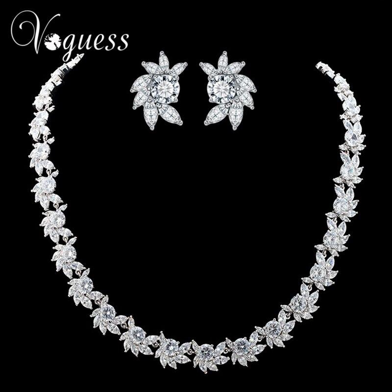 VOGUESS magnifique Cz ensembles de bijoux de mariage couleur argent strass fleur boucles d'oreilles collier bijoux de mariée ensembles avec boîte