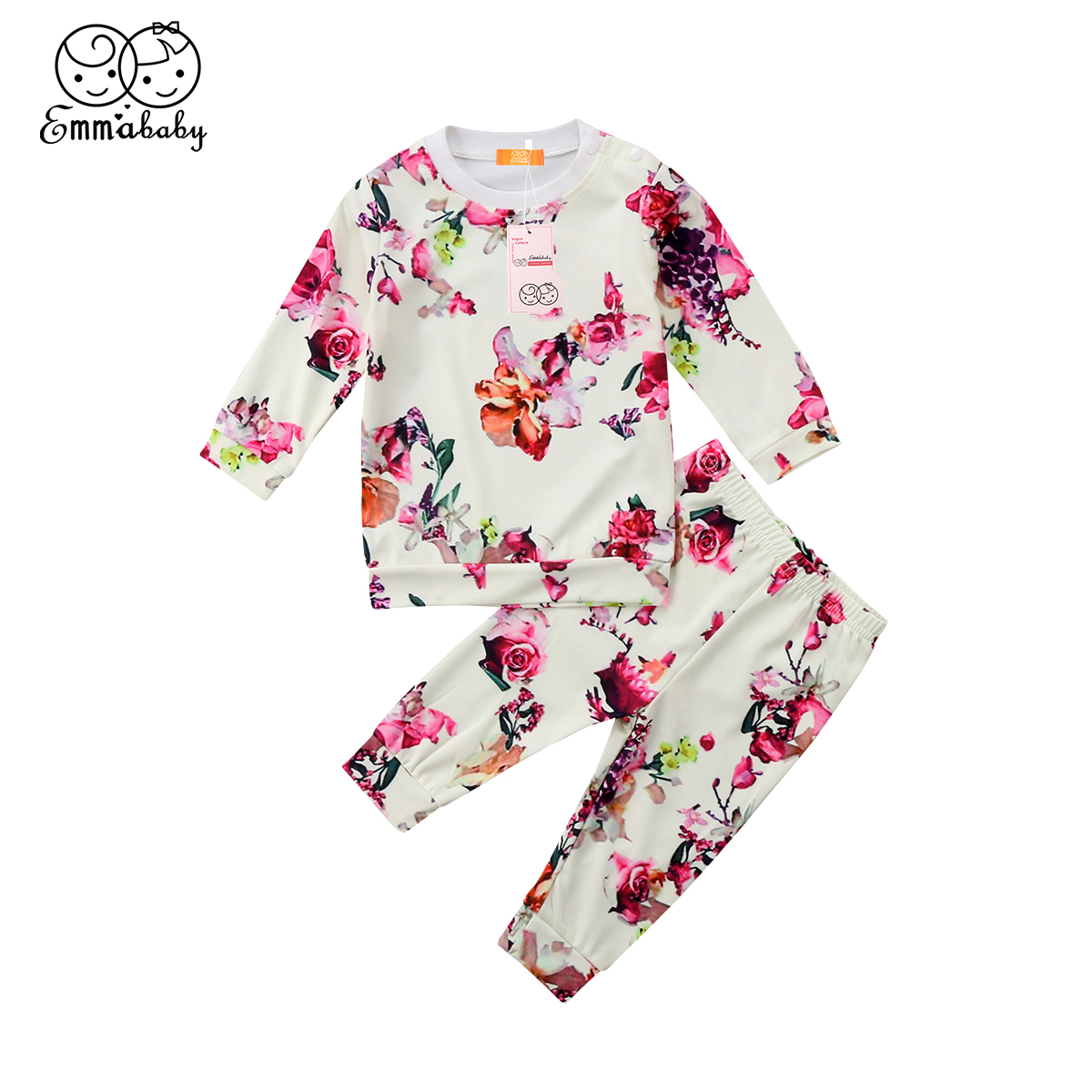 2018 new casual clothes set Newborn Baby Girl Floral print Clothes Tops T-shirt+Long Pants 2Pcs lovely kid Outfits Set 3-24M