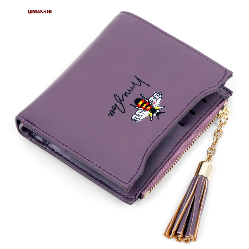Women wallet small PU leather coin pocket wallet women lady student purse female coin purse card holder embroidery designer dollar price women cute cat small wallet zipper wallet brand designed pu leather women coin purse female wallet card holder