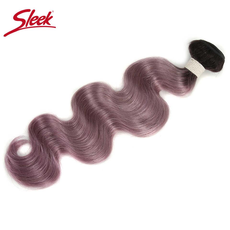 Elegante pelo colorido Pre-coloreado Ombre paquete TT1B/Color púrpura pelo brasileño tejido paquetes onda del cuerpo virgen Remy la extensión del pelo