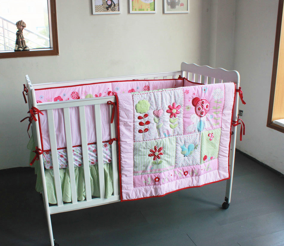 Promotion! 4pcs Embroidery Baby Cot Set Crib Bumper Animal Design Baby Bedding Set,include (bumpers+duvet+bed cover+bed skirt)